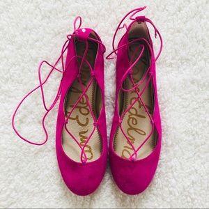 Sam Edelman Pink Ankle-Wrap Flats